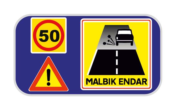 DANGER  PAVED ROAD ENDS